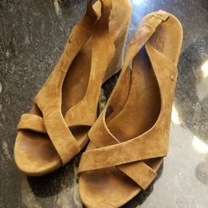 UGG Brown Suede Sandal Wedge Size 8.0
